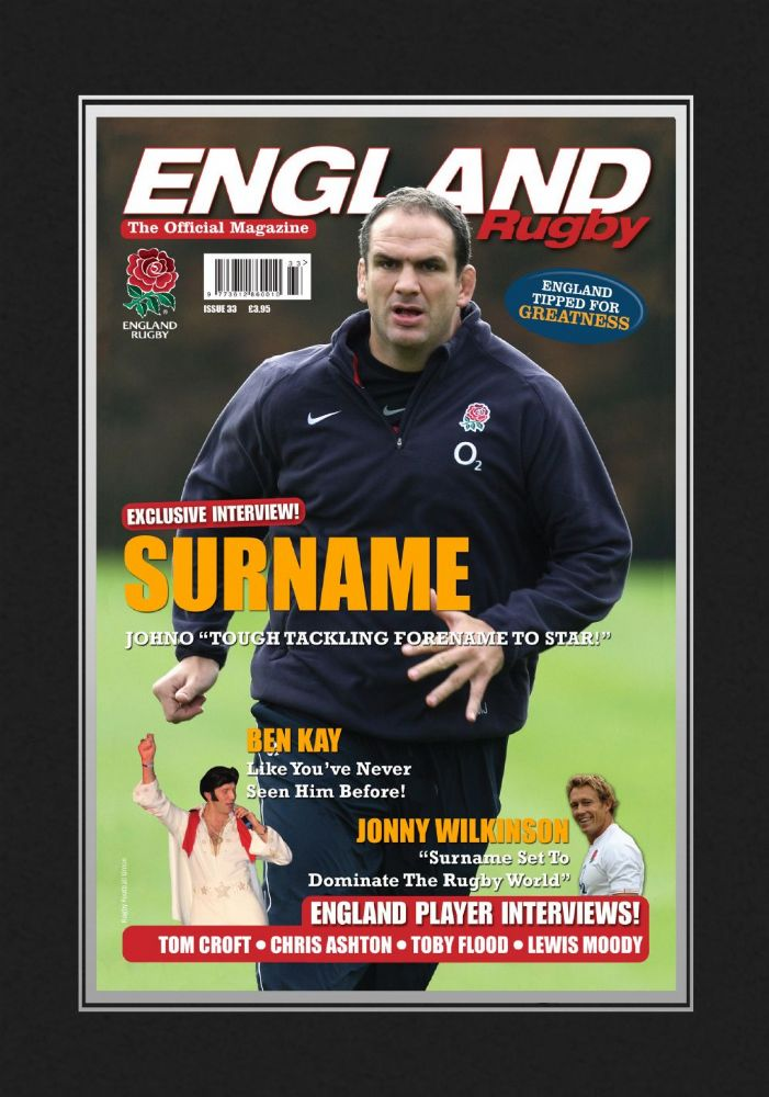 Personalised Official England Rugby Magazine Front Cover